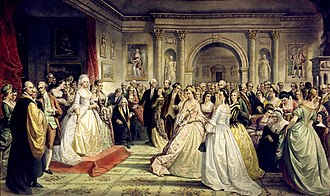 Alexander Macomb House - The Republican Court: Lady Washington's Reception Day by Daniel Huntington (c. 1861). This fanciful painting depicts the Macomb House.