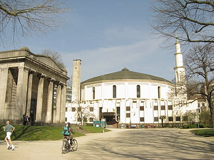 The Great Mosque of Brussels is the seat of the Islamic and Cultural Centre of Belgium. Brussel 052 Jubelpark.JPG