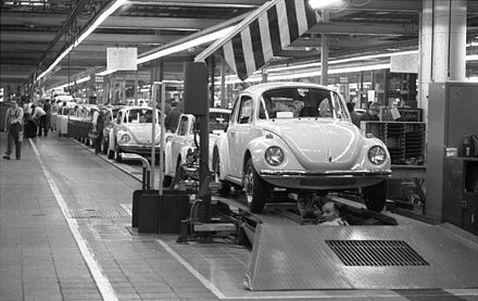 The Volkswagen Beetle - for many years the most successful car in the world - on the assembly line in Wolfsburg factory, 1973 Bundesarchiv B 145 Bild-F038788-0006, Wolfsburg, VW Autowerk, Kafer.jpg