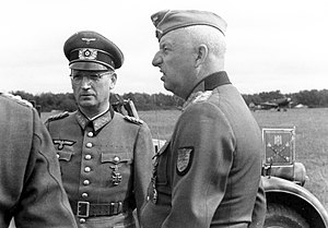 Belgorod-Kharkov Offensive Operation - Manstein (right) and his chief of staff Hans Speidel discuss the Soviet attacks