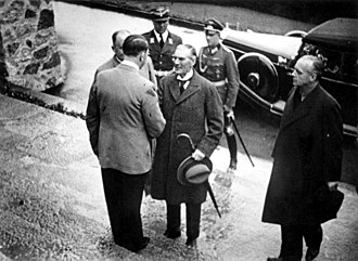 Edward Wood, 1st Earl of Halifax - Adolf Hitler greets British Prime Minister Neville Chamberlain on the steps of the Berghof, 15 September 1938 during the crisis over Czechoslovakia. Joachim von Ribbentrop stands on the right.