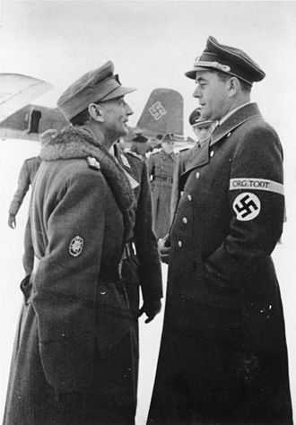 Organisation Todt - Eduard Dietl and Albert Speer, at Rovaniemi Airport in Finland, during December 1943.