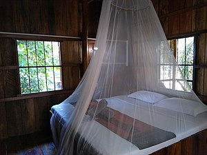 A net hanging over a bed
