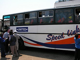 Mangochi - Passengers boarding at the bus station