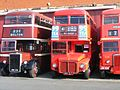 Buses 77 (JBN 153) RM1414 (414 CLT) 3228 (JND 629) at the 2007 GMTS Leyland rally.jpg
