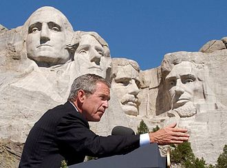 Presidency of George W. Bush - President George W. Bush discusses American national security at Mount Rushmore, South Dakota in August 2002.