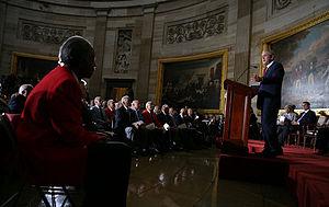 President George W. Bush speaks during the Con...