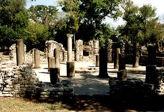 Northern Epirus - Remains of 6th century baptisery in Butrint.