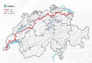 Geschwindigkeitsbegrenzung Autobahn Deutschland Karte.Autobahn 1 Schweiz Wikipedia