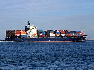 CMA CGM Aegean p4 approaching Port of Rotterdam, Holland 21-Feb-2005.jpg