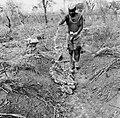 COLLECTIE TROPENMUSEUM Een man besprenkelt yam knollen met Dieldrin wat de vraat van de witte mieren moet tegengaan TMnr 20016979.jpg