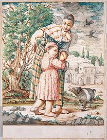 Cacasenno che viene quietato con un castagnaccio: acquerello (1736) di Giuseppe Maria Crespi