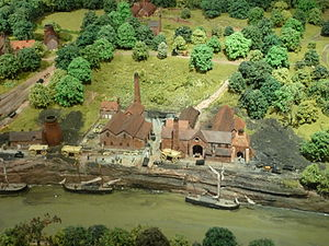 Jackfield - The Calcutts Ironworks – part of a large model of the wider gorge during the Industrial Revolution at the Museum of the Gorge in nearby Ironbridge.