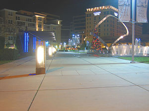 Cupertino, California - Cali Mill Plaza at night