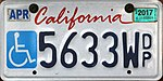 California disabled person plate 2010 5633Wdp.jpg