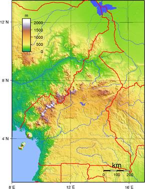 Cartina topografica del Camerun.