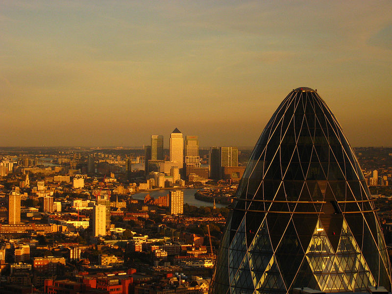 File:Canary Wharf and Gherkin.jpg