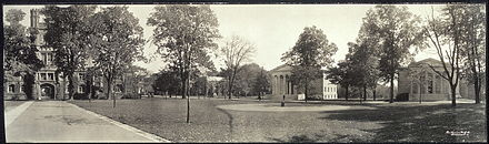 Cannon Green ca. 1909, with East Pyne, Whig and Clio Halls Cannon Green Princeton c1909.jpg