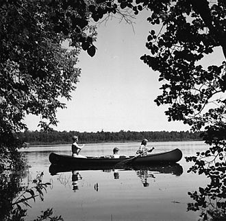 Cass Lake (Minnesota) - Canoe Tripping by Girl Scouts of Camp Cassaway on Cass Lake, Minnesota. 1962.