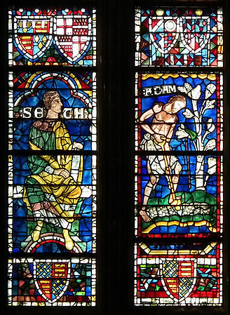 Canterbury, Canterbury cathedral-stained glass 03 Seth and Adam