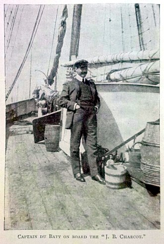 """Raymond Rallier du Baty - Captain du Baty on board the """"J. B. Charcot"""" - From his book 15,000 Miles in a Ketch."""