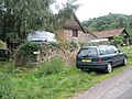 Car by footpath to Hacketty Way - geograph.org.uk - 933948.jpg