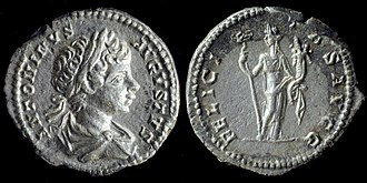 "Felicitas - AR Denarius of Caracalla, reverse side with 'FELICITAS AVGG' - Felicitas Augusti means: ""To the good fortune (or happiness) of emperors"""