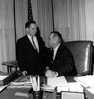 Carl Albert - Majority Leader Albert with President Lyndon B. Johnson