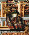 Carlo Crivelli Annunciation with St Emidius detail Azerbaijani Kazakh carpet.jpg
