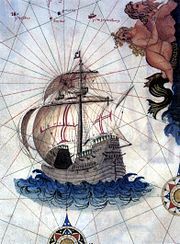 An illustration from an old map which shows a wooden sailing vessel with a square-rigged foresail, a square-rigged main mast with main and topsail, and a lateen sail aft over a very high stern