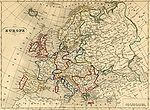 Carte de l Europe de 1843 montrant la multitude d états issus du Congrès de Vienne