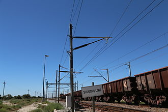 Sishen–Saldanha railway line - Note the very long 50kV insulators on the catenary masts