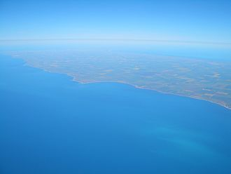Gulf St Vincent - Gulf St Vincent (foreground) and Yorke Peninsula, facing south west