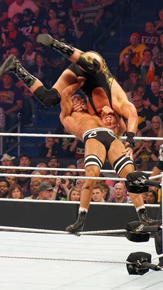 Suplex - Cesaro performing a superplex on Jack Swagger