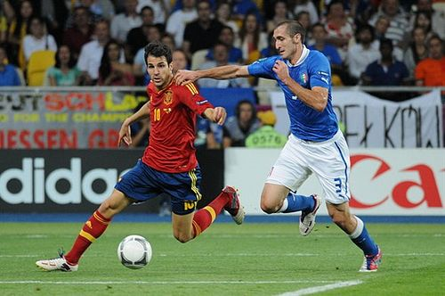 Chiellini (right) challenges Cesc Fabregas of Spain during the UEFA Euro 2012 Final. Cesc Fabregas and Giorgio Chiellini Euro 2012 final.jpg