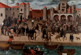 An anonymous picture depicting Lisbon, the centre of the slave trade, by the late 16th century. Chafariz d'El-Rey, c. 1570-80 (Coleccao Berardo).png