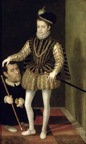 Charles Emmanuel I, Duke of Savoy - Charles Emmanuel as a boy with his dwarf, portrait by Giacomo Vighi.