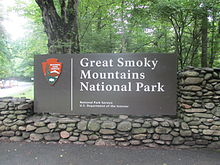 Cherokee, NC entrance sign to Great Smoky Mtn. Nat. Park IMG 4905.JPG