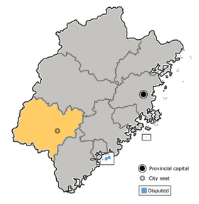 Longyan is highlighted on this map