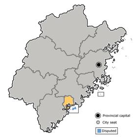 Xiamen(Ē-mn̂g) is highlighted on this map