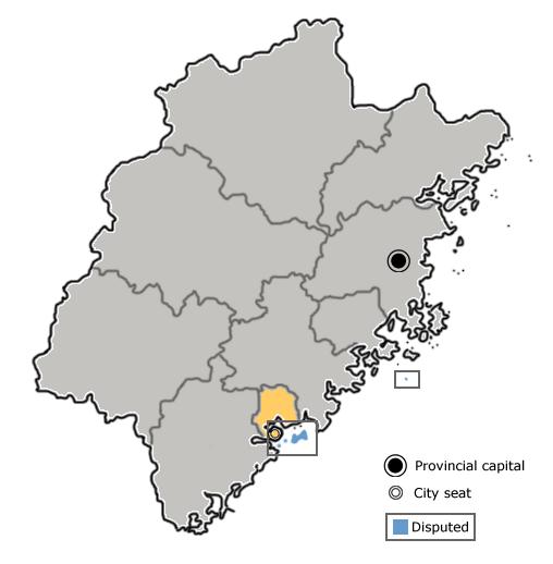 Location of Xiamen City jurisdiction in Fujian