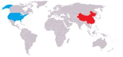 Map indicating locations of China and USA