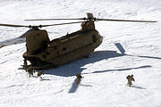 Chinook helicopter near Bagram, Afghanistan