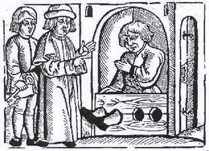 Serfdom in Poland - A peasant in stocks in a 16th-century Polish woodcut