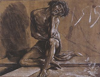 Chiaroscuro - Christ at Rest, by Hans Holbein the Younger, a chiaroscuro drawing using pen and ink and brush, washes, white heightening, on ochre prepared paper
