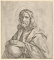 Christ seen in half-length, holding a globe surmounted by a cross, after Reni MET DP837918.jpg
