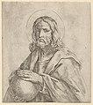 Christ seen in half-length, holding a globe surmounted by a cross, after Reni MET DP837918.jpg