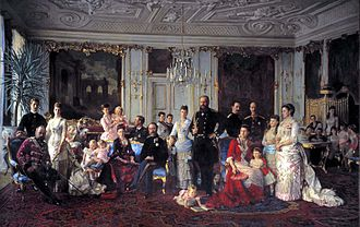 Louise of Hesse-Kassel - Christian IX and Louise with family gathered in the Garden Hall of Fredensborg Palace in 1883 by Laurits Tuxen