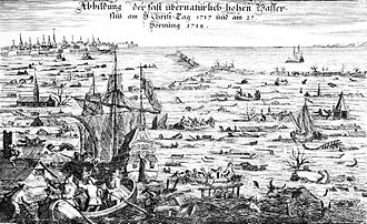 Christmas Flood of 1717 - The Christmas flood of 1717 was the result of a northwesterly storm, which hit the coast area of the Netherlands, Germany and Scandinavia on Christmas night 1717.