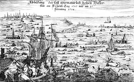 The Christmas flood of 1717 was the result of a northwesterly storm that resulted in the death of thousands. Christmas flood 1717.jpg